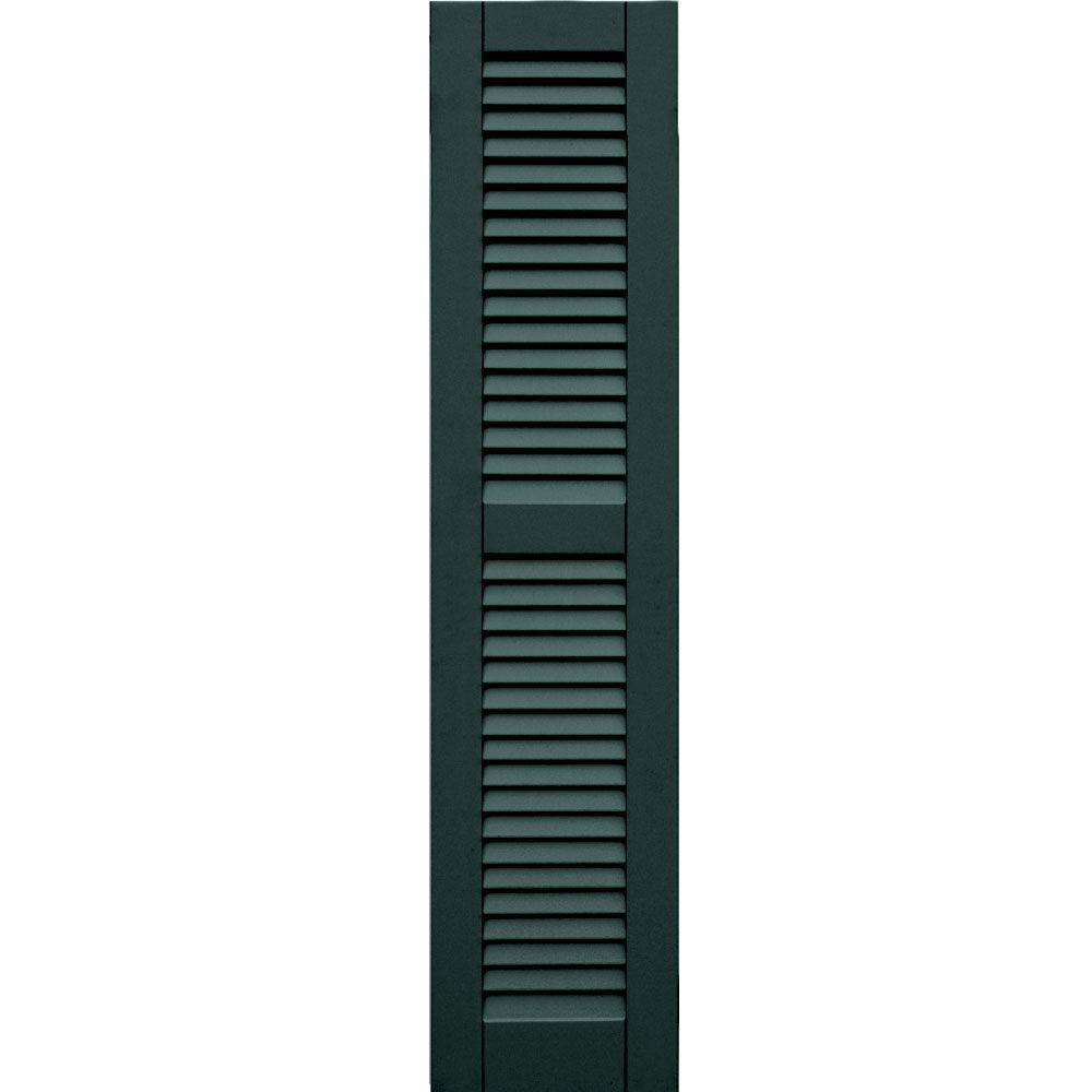 Winworks Wood Composite 12 in. x 53 in. Louvered Shutters Pair #638 Evergreen