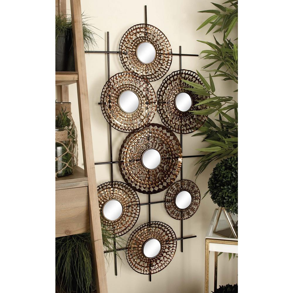 51 in. x 25 in. Modern Distressed Iron Medallions and Mirrors