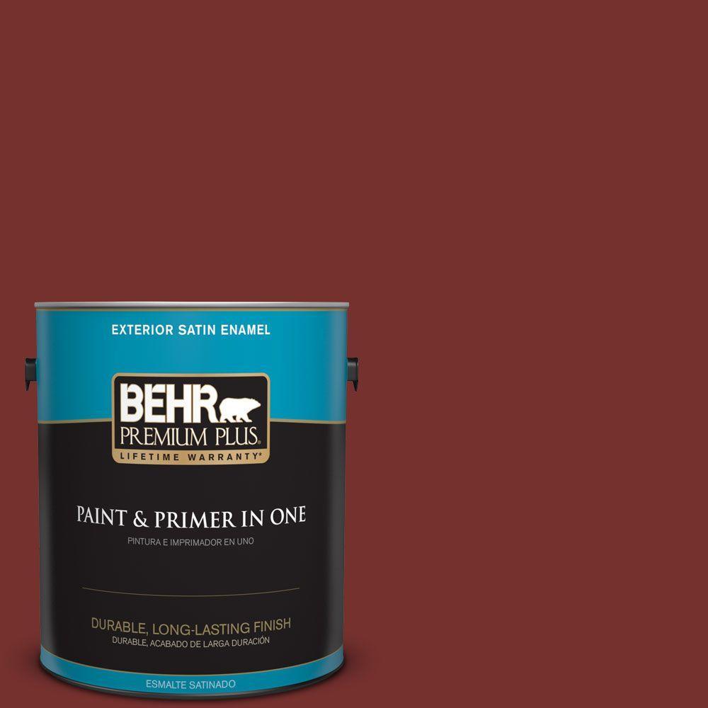 BEHR Premium Plus 1-gal. #ECC-15-3 Cherry Bark Satin Enamel Exterior Paint