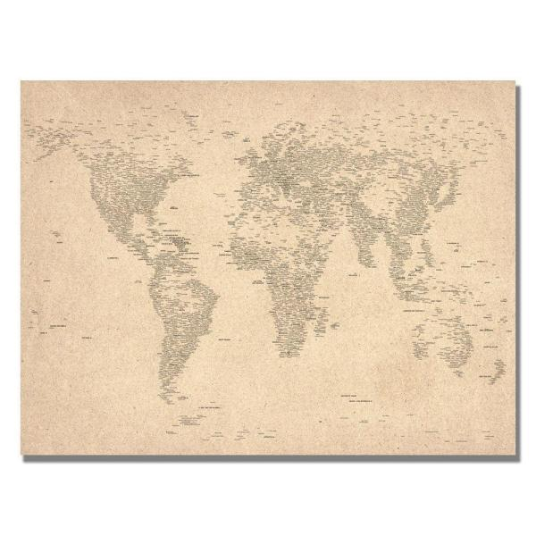 18 in. x 24 in. World Map of Cities Canvas Art MT0021-C1824GG - The Canvas World Maps on