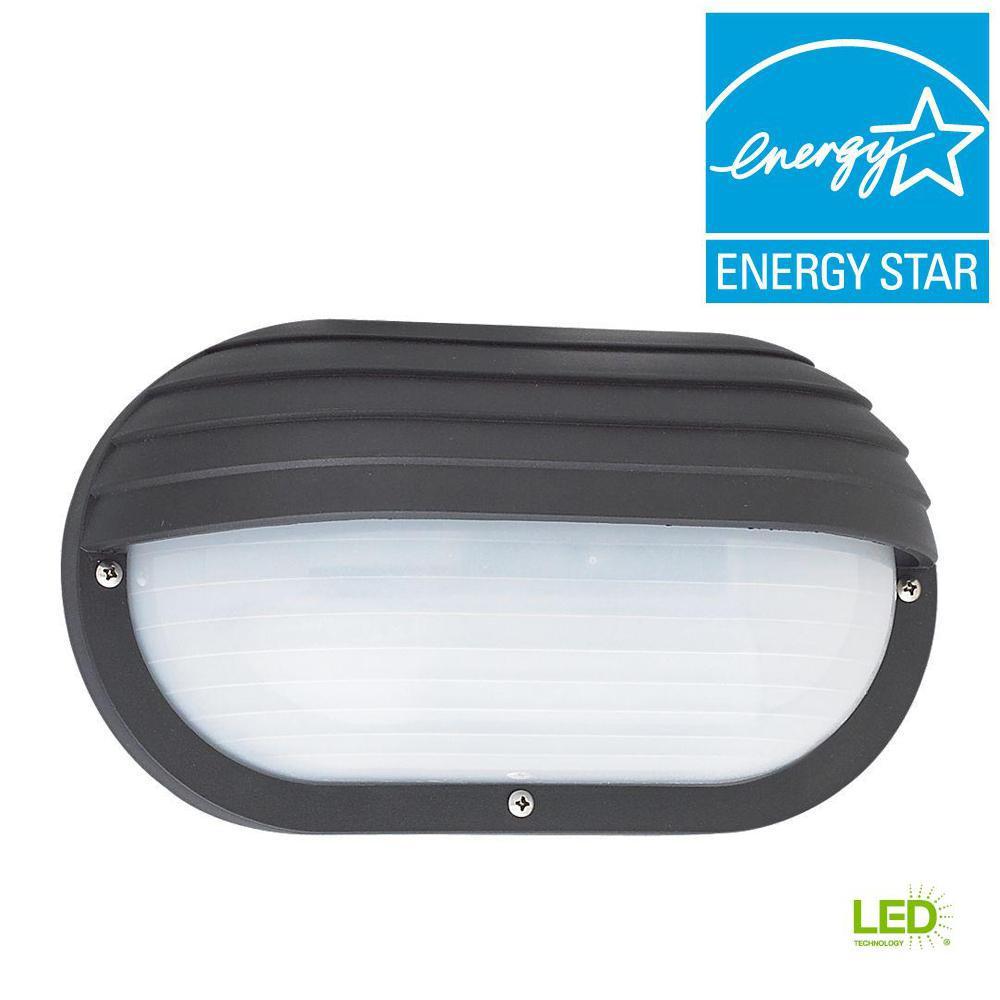Sea Gull Lighting Bayside Black 1 Light Outdoor Bulkhead With Led Bulb