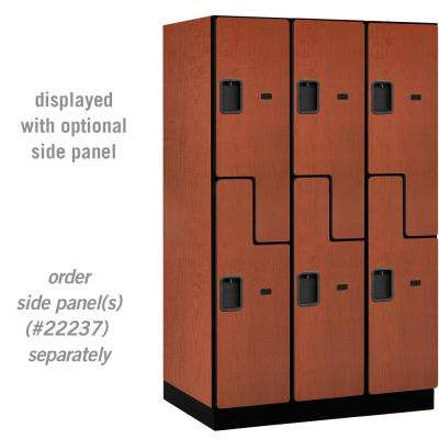 "27000 Series Double Tier ""S"" Style 24 in. D 6 Compartments Extra Wide Designer Wood Locker in Cherry"