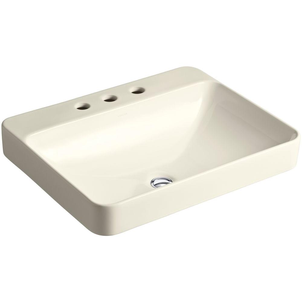 KOHLER Vox Rectangle Above-Counter Vessel Bathroom Sink in Almond with Overflow Drain