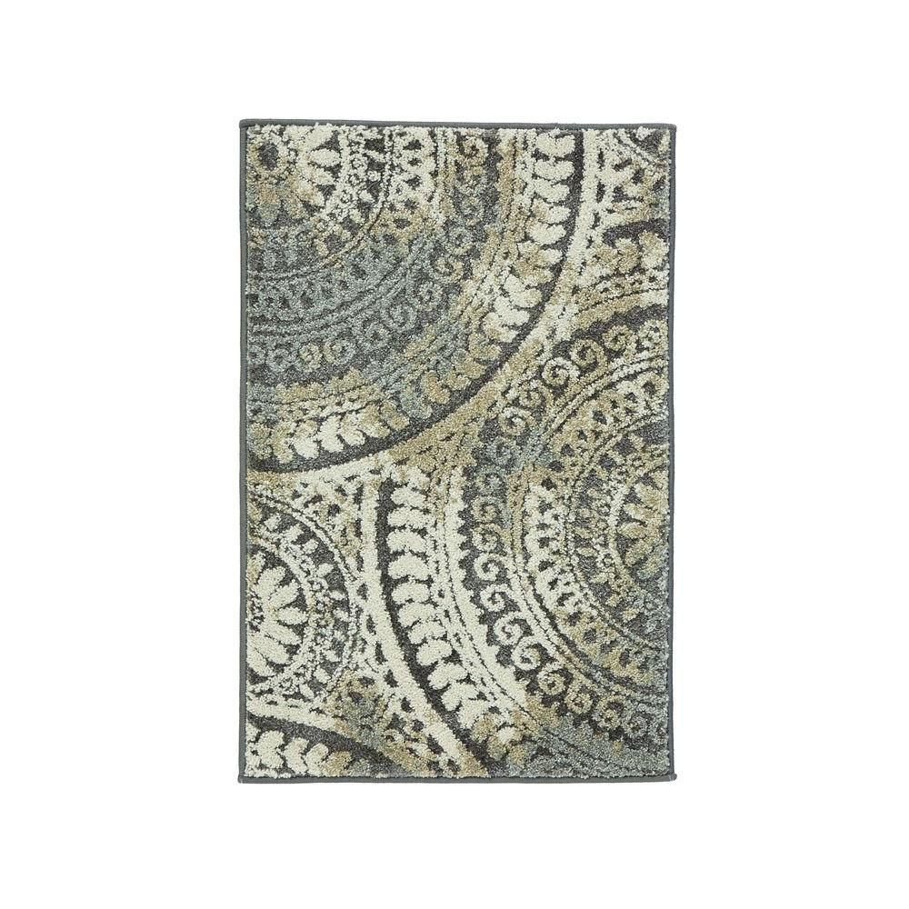 Spiral Medallion Gray 2 ft. x 3 ft. Scatter Rug