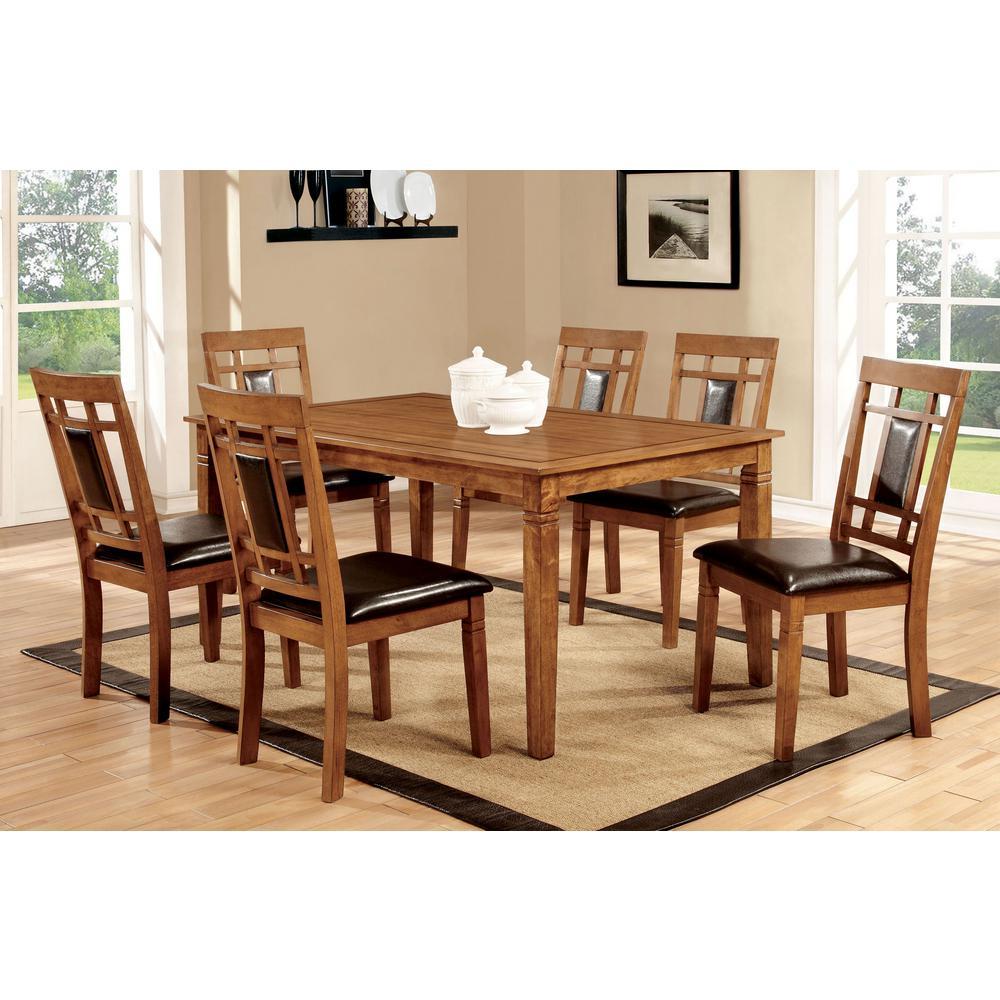 Freeman I 7-Piece Light Oak Transitional Style Dining Table Set