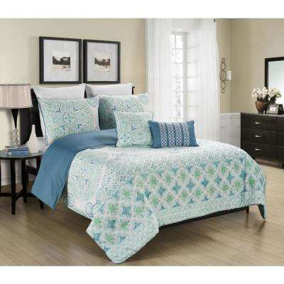 Verusha Aquamarie 5-Piece Full/Queen Reversible Comforter Set