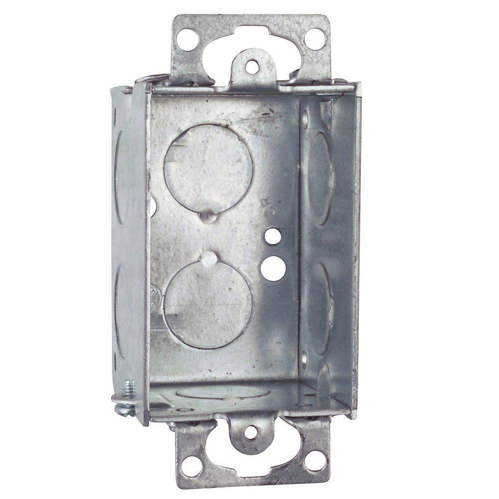 1-Gang 10 cu. in. Gangable Steel Switch Box (Case of 20)