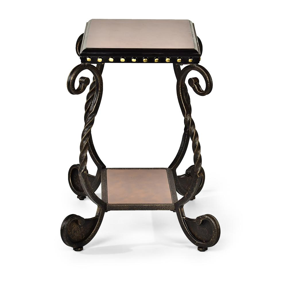 Rosemont Cherry Scrolled Metal Base Chairside End Table
