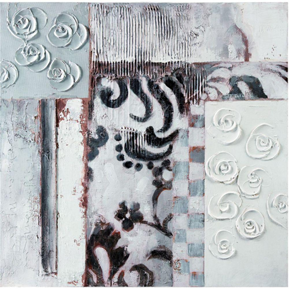 Yosemite Home Decor 31 in. x 31 in. Rosettes II Hand Painted Contemporary Artwork-DISCONTINUED