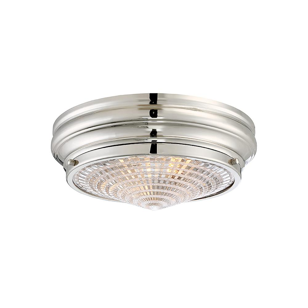 2-Light Polished Nickel Flushmount