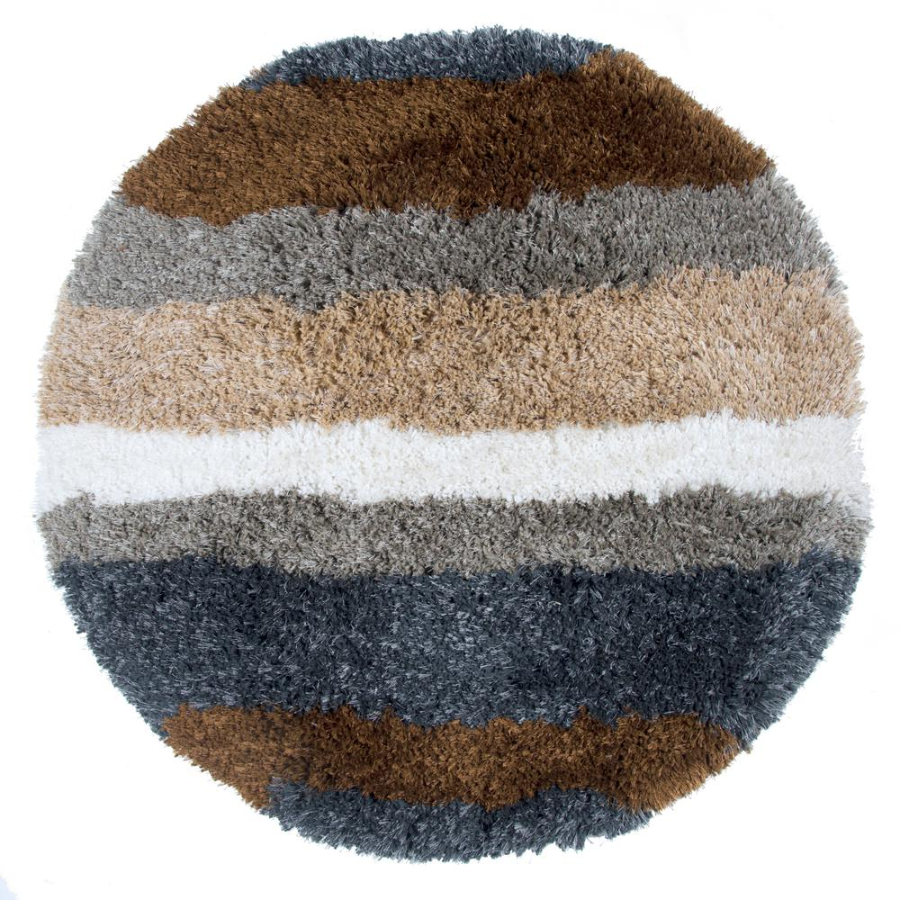 Commons Multicolor Polyester Shag 3 ft. x 3 ft. Round Area