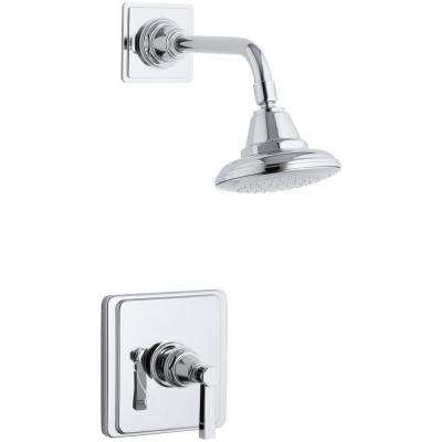 Pinstripe 1-Spray 6.6875 in. 2.5 GPM Fixed Shower Head with Lever Handle in Polished Chrome