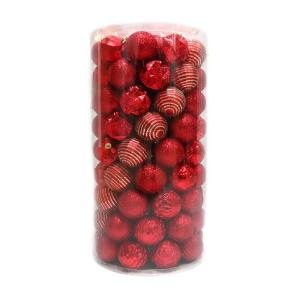 Holiday Traditions 2.3 in. Shatterproof Ornament Red (101-Piece)