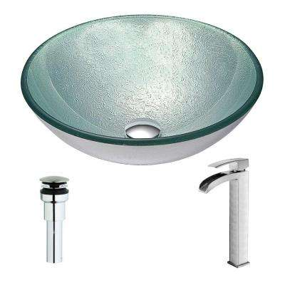 Spirito Series Deco-Glass Vessel Sink in Churning Silver with Key Faucet in Brushed Nickel