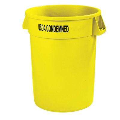 Bronco 32 Gal. Yellow Imprinted Round Lidless Recycling Trash Can with USDA Condemned (4-Pack)