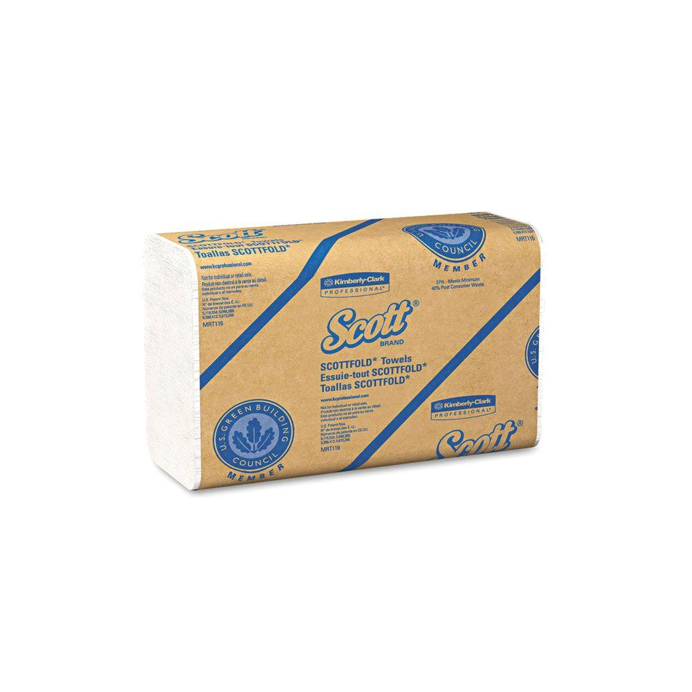 Scott Paper Towels: Scott Fold White M Paper Towels (175-Pack)-KCC01960