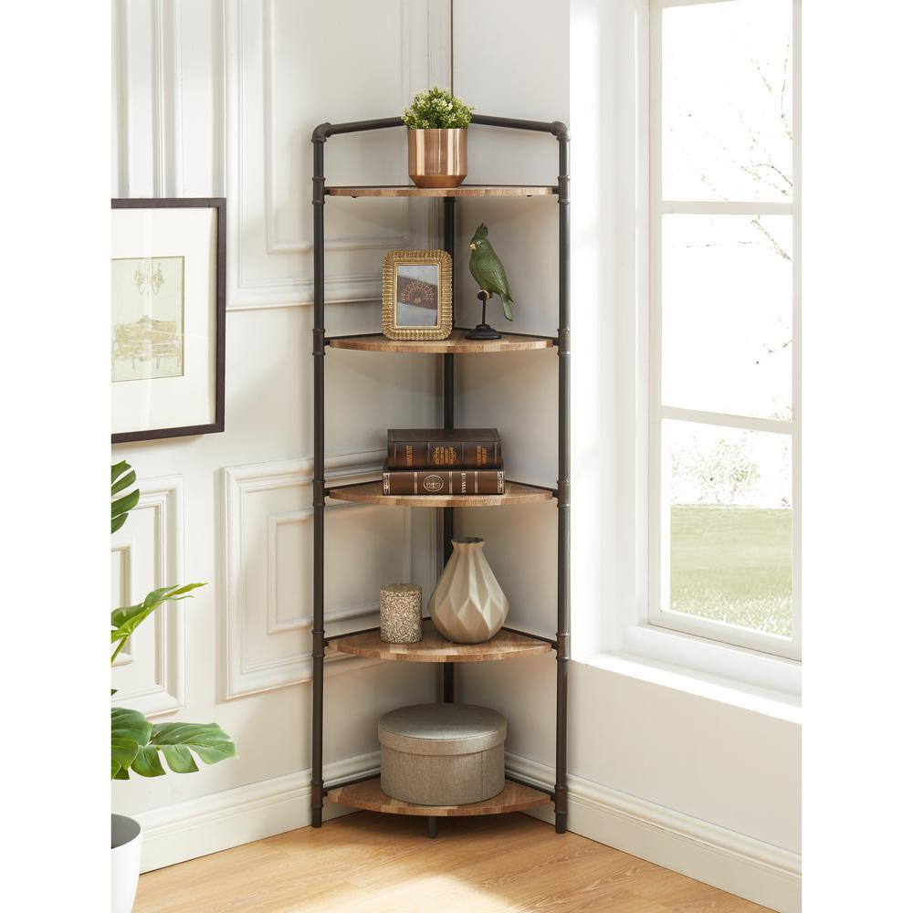 Copper Metal 5 Shelf Corner Bookcase, Corner Bookcase Furniture