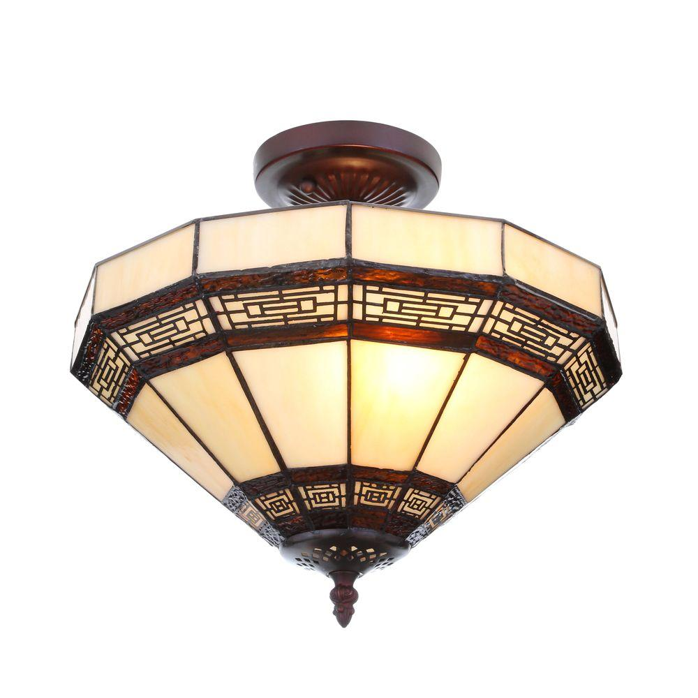 Hampton Bay Addison 13.5 in. 2-Light Oil Rubbed Bronze Semi-Flushmount with Tiffany Style Stained Glass Shade