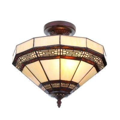 Addison 13.5 in. 2-Light Oil Rubbed Bronze Semi-Flushmount with Tiffany Style Stained Glass Shade