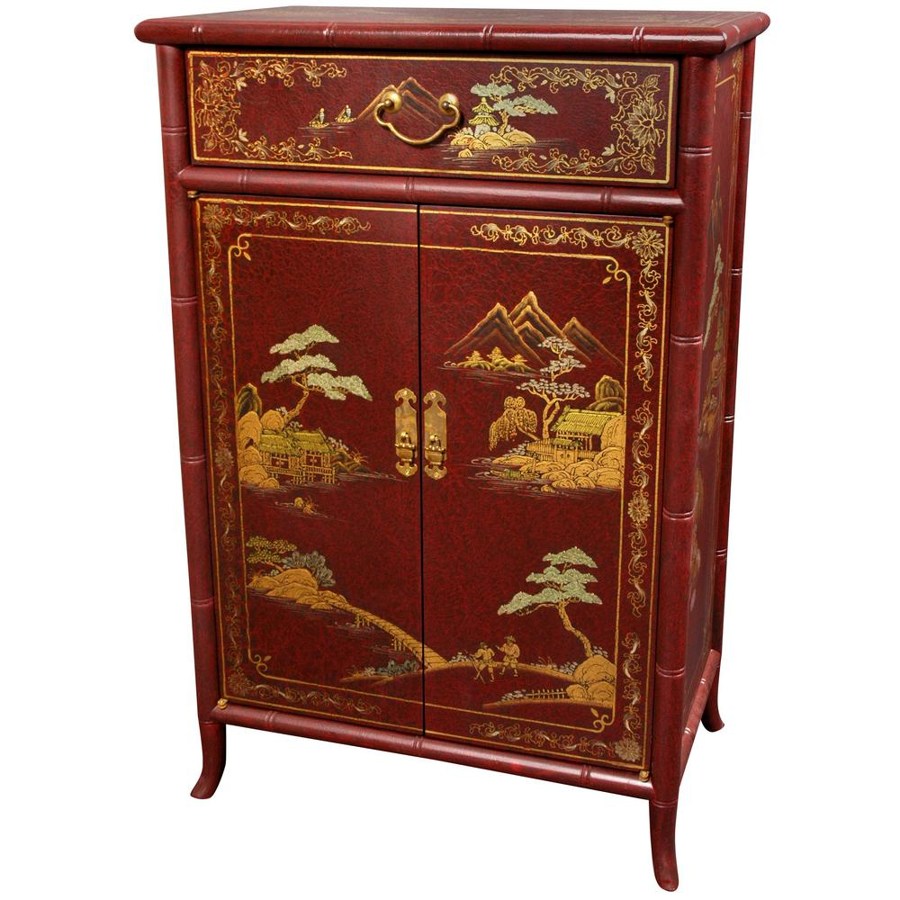 Oriental furniture red lacquer japanese shoe cabinet lcq for Red chinese furniture