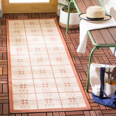 Courtyard Natural/Terra 2 ft. x 7 ft. Indoor/Outdoor Runner Rug