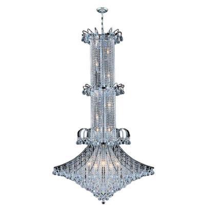 Empire Collection 20-Light Polished Chrome Chandelier with Clear Crystal