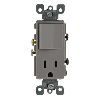 15 Amp Decora Commercial Grade Combination Single Pole Rocker Switch and Receptacle, Gray