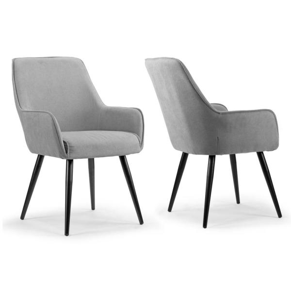 Amir Grey Dining Chair With Black Metal