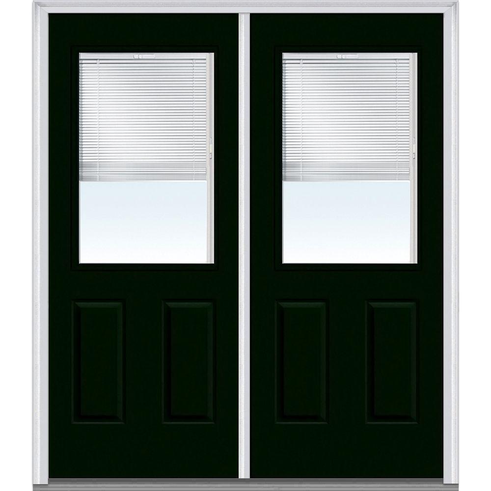 64 in. x 80 in. Internal Blinds Left-Hand 1/2 Lite 2-Panel Classic Painted Steel Prehung Front Door