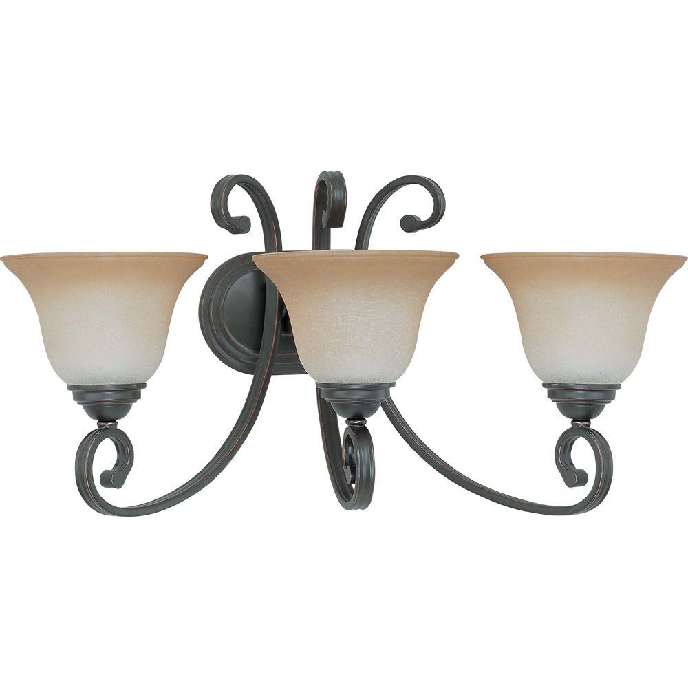 glomar 3 light sudbury bronze vanity light with champagne linen glass hd 2757. Black Bedroom Furniture Sets. Home Design Ideas