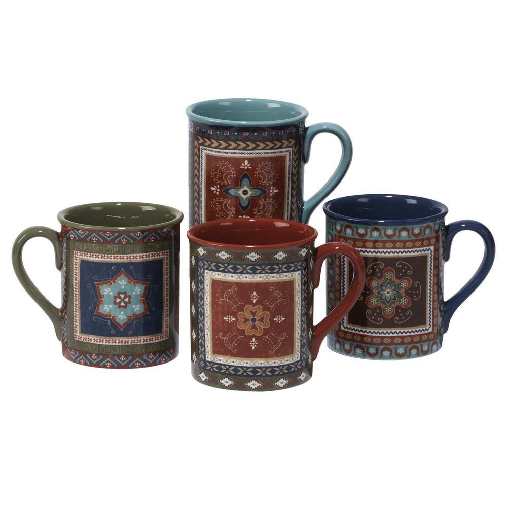 Certified International Monterrey 16 oz. Multi-Colored Ceramic Mugs (Set of 4)