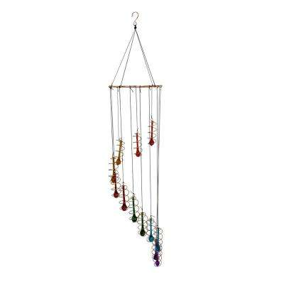 36 in. Colorful Glass Hanging Decor with Beads