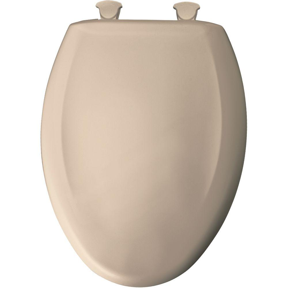 Slow Close STA-TITE Elongated Closed Front Toilet Seat in Beige
