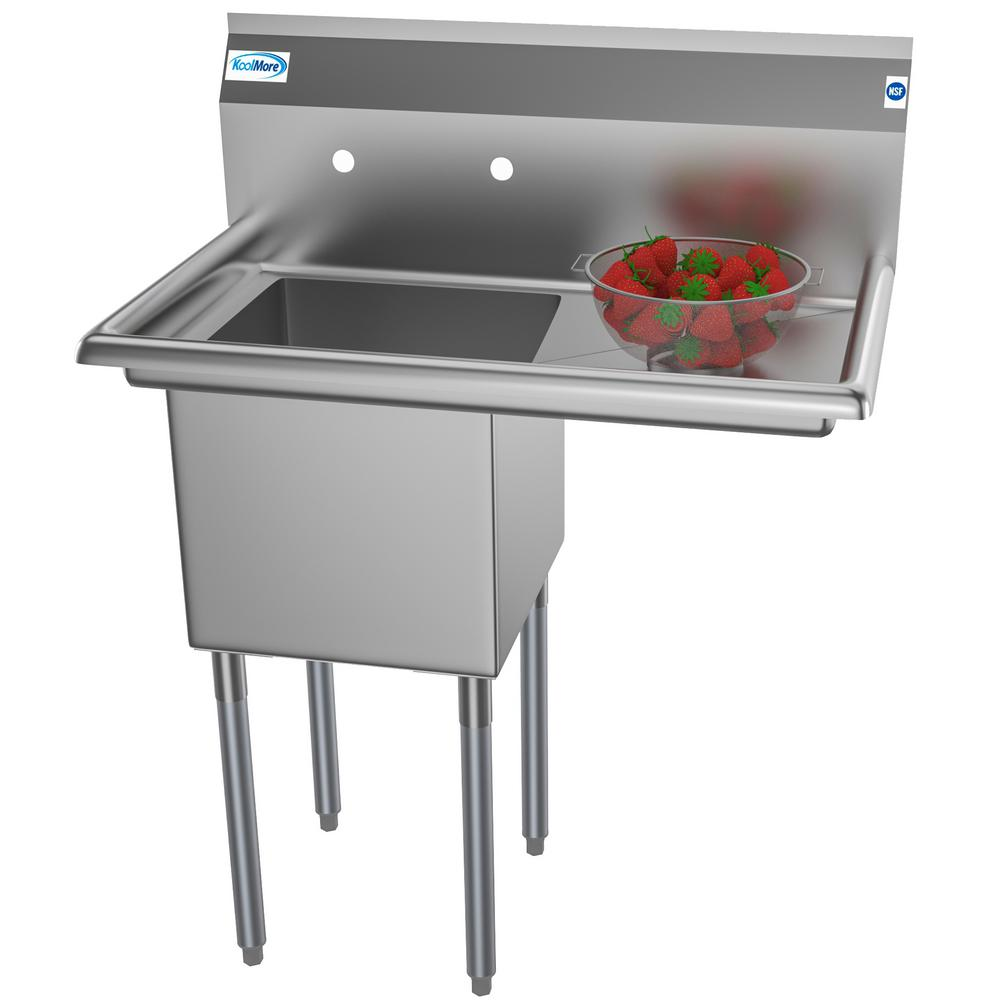 Koolmore Freestanding Stainless Steel 33 in. 2-Hole Single Bowl Commercial  Kitchen Sink