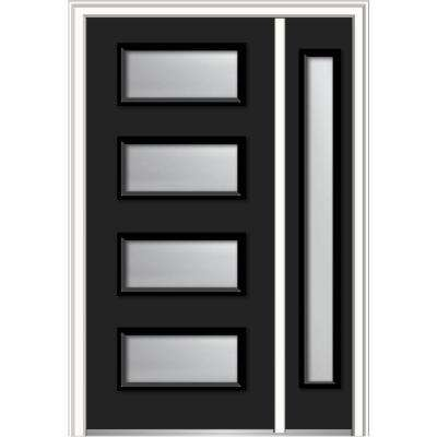 50 in. x 80 in. Celeste Frosted Glass Left-Hand Inswing 4-Lite Eclectic Painted Steel Prehung Front Door with Sidelite