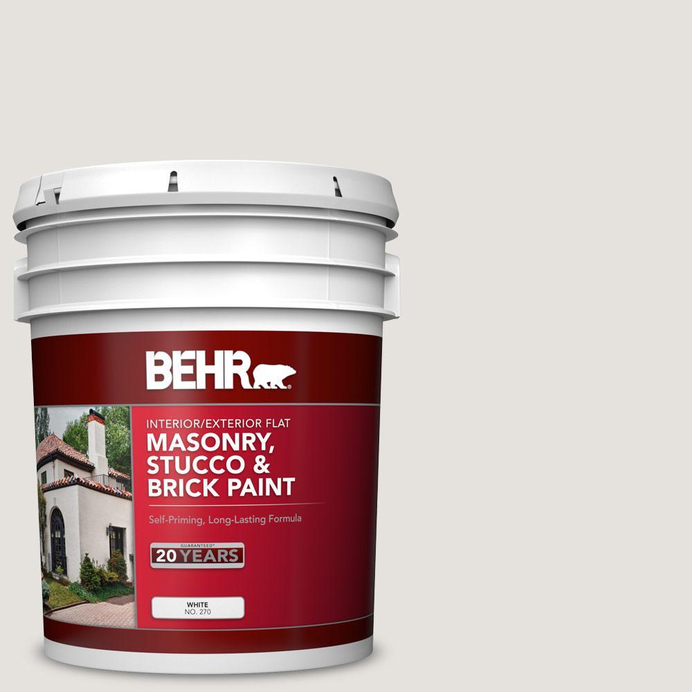 BEHR 5 gal. #PPU18-08 Painters White Flat Interior/Exterior Masonry, Stucco and Brick Paint
