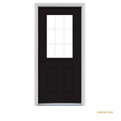 36 in. x 80 in. 9 Lite Black Painted w/ White Interior Steel Prehung Right-Hand Inswing Front Door w/Brickmould