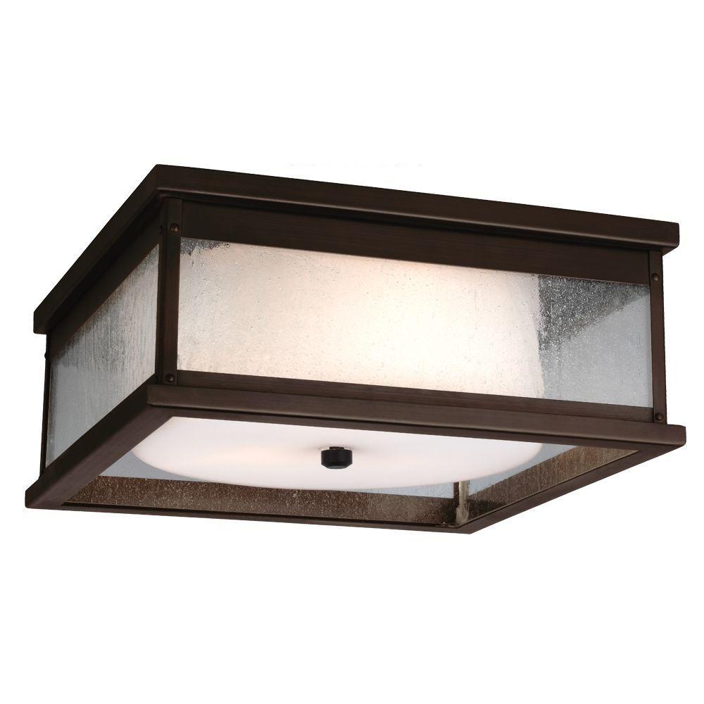 Pediment 13 in. W. 2-Light Dark Aged Copper Outdoor Ceiling Fixture