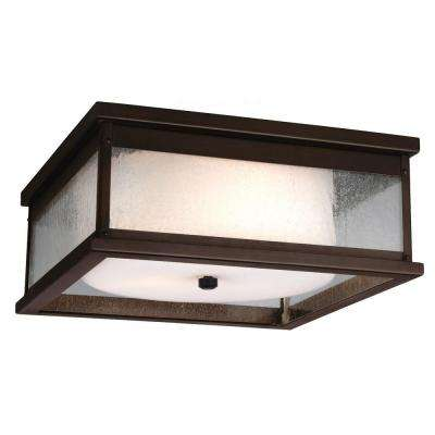 Pediment 13 in. W. 3-Light Dark Aged Copper Outdoor 5.875 in. Ceiling Fixture with Clear Seeded Glass