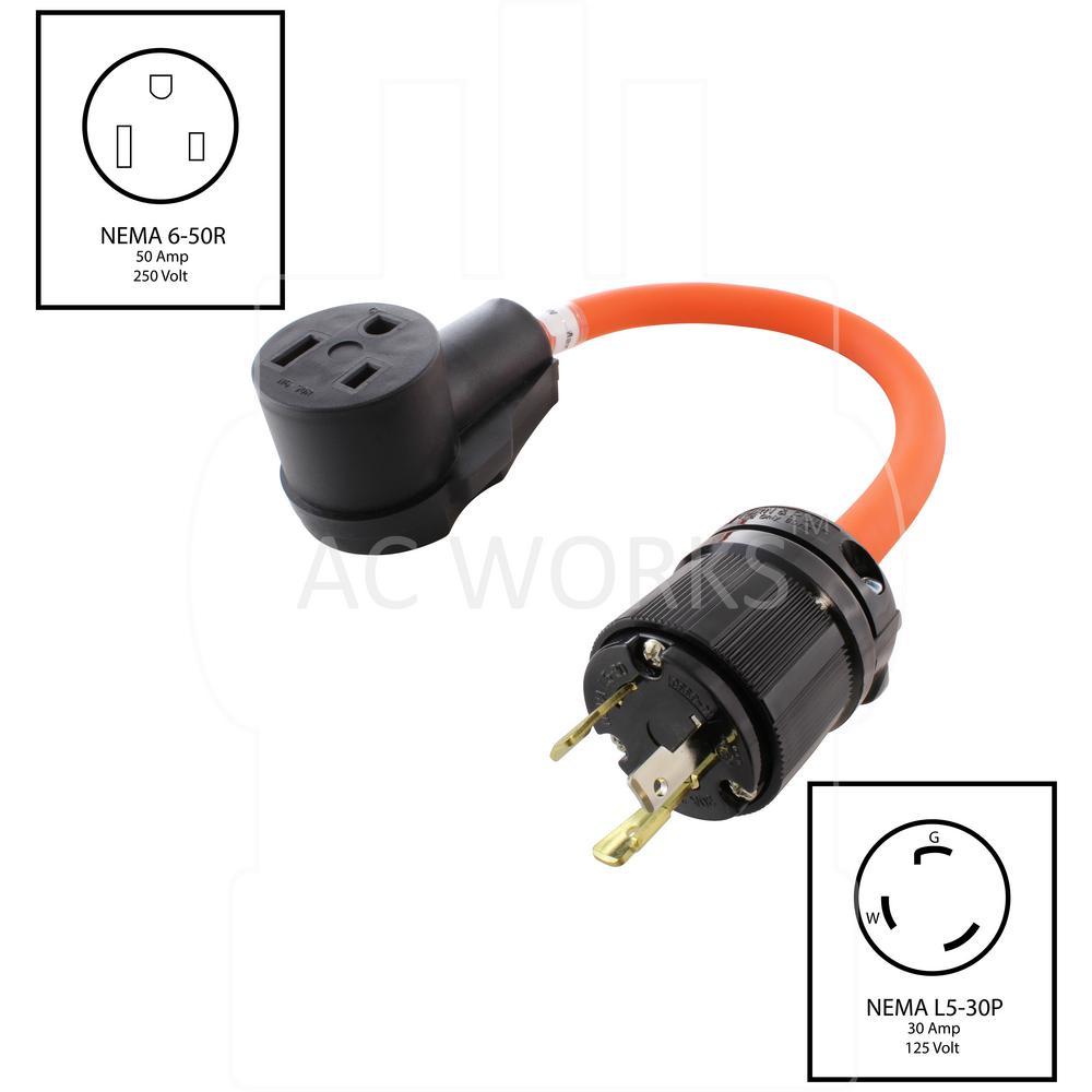 Flexible RV//Generator Adapter NEMA L5-30P to NEMA TT-30R by AC WORKS®