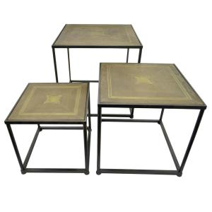 THREE HANDS 23.5 inch Brown Wood Top End Table (Set of 3) by THREE HANDS