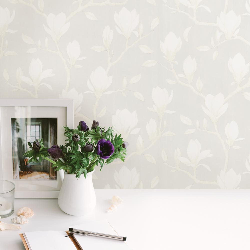 Grandiflora Beige Magnolia Wallpaper