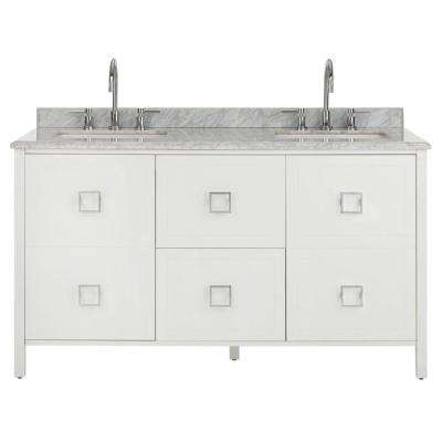 W Vanity in White with Natural Marble Vanity Top in Natural with