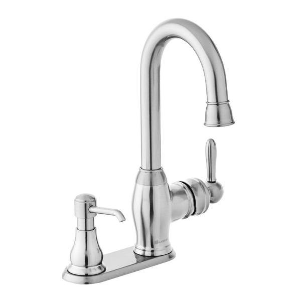 Newbury Single-Handle Bar Faucet in Stainless Steel with Soap Dispenser