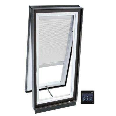 46-1/2 in. x 46-1/2 in. Solar Powered Venting Curb-Mount Skylight w/ Laminated Low-E3 Glass, White Room Darkening Blind