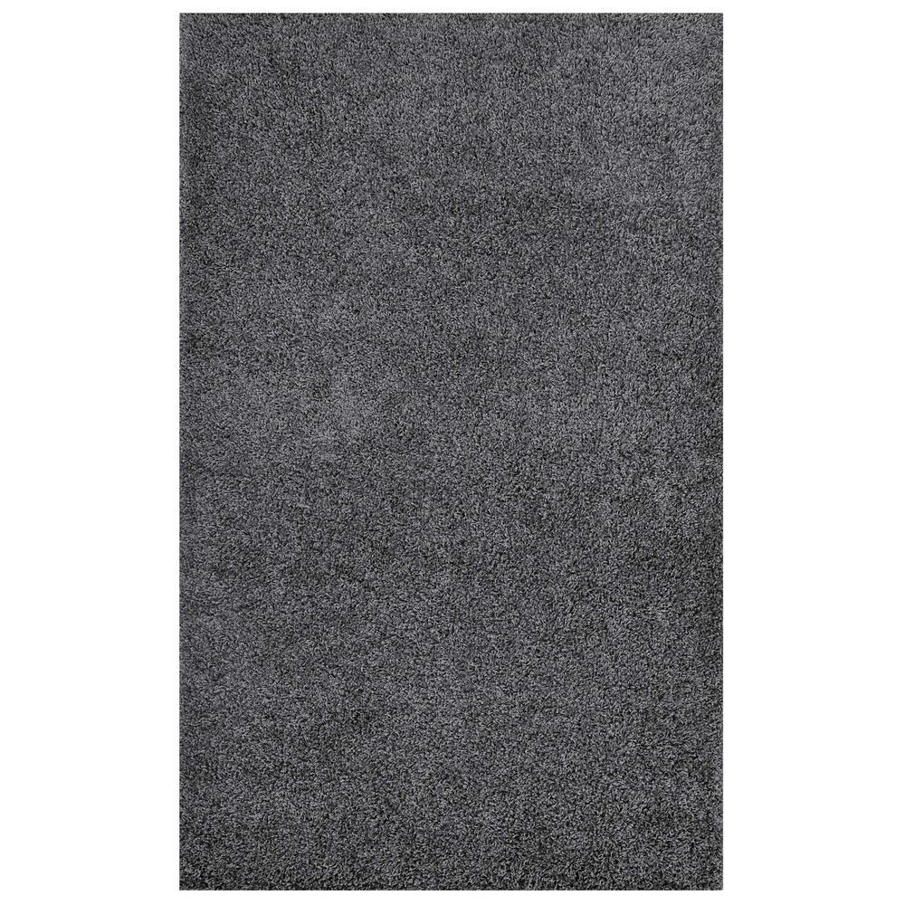 Enyssa Solid 5x8 Shag Area Rug in Dark Gray