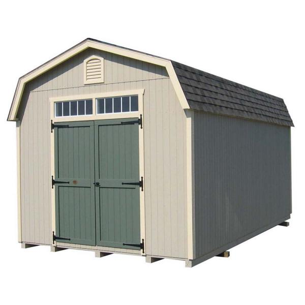 Colonial Woodbury 10 ft. x 12 ft. Wood Storage Building DIY Kit with 6 ft. Sidewalls with Floor