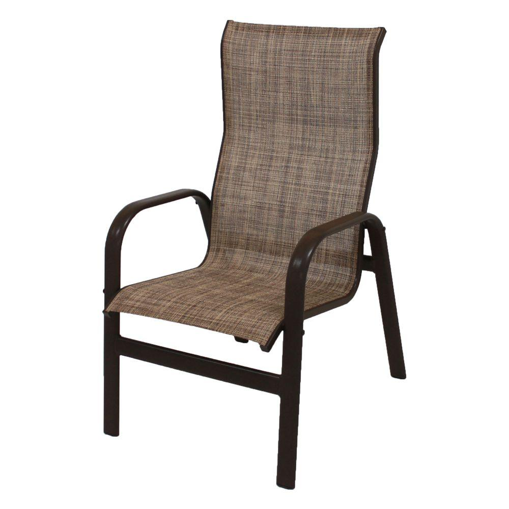 Marco Island Dark Cafe Brown Commercial Grade Aluminum Sling Outdoor Dining  Chair In Chesterfield (2