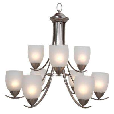 Ann 9-Light Brushed Nickel Chandelier with Frosted Glass Shade