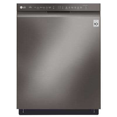 Front Control Built-In Tall Tub Dishwasher in Black Stainless Steel with Stainless Steel Tub